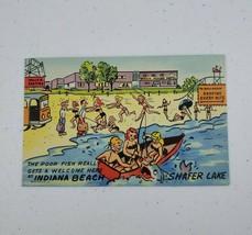 Scarce Curt Teich Linen Postcard 1955 Tourist Promotion On Back- Indiana Beach - $20.00