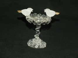 VINTAGE Small DETAILED ART GLASS BIRDS ON FEEDER Gold tails - $36.82