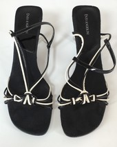 ENZO ANGIOLINI Strappy Strap Slingback Black White Leather Heels Shoes 10.5M - $22.80