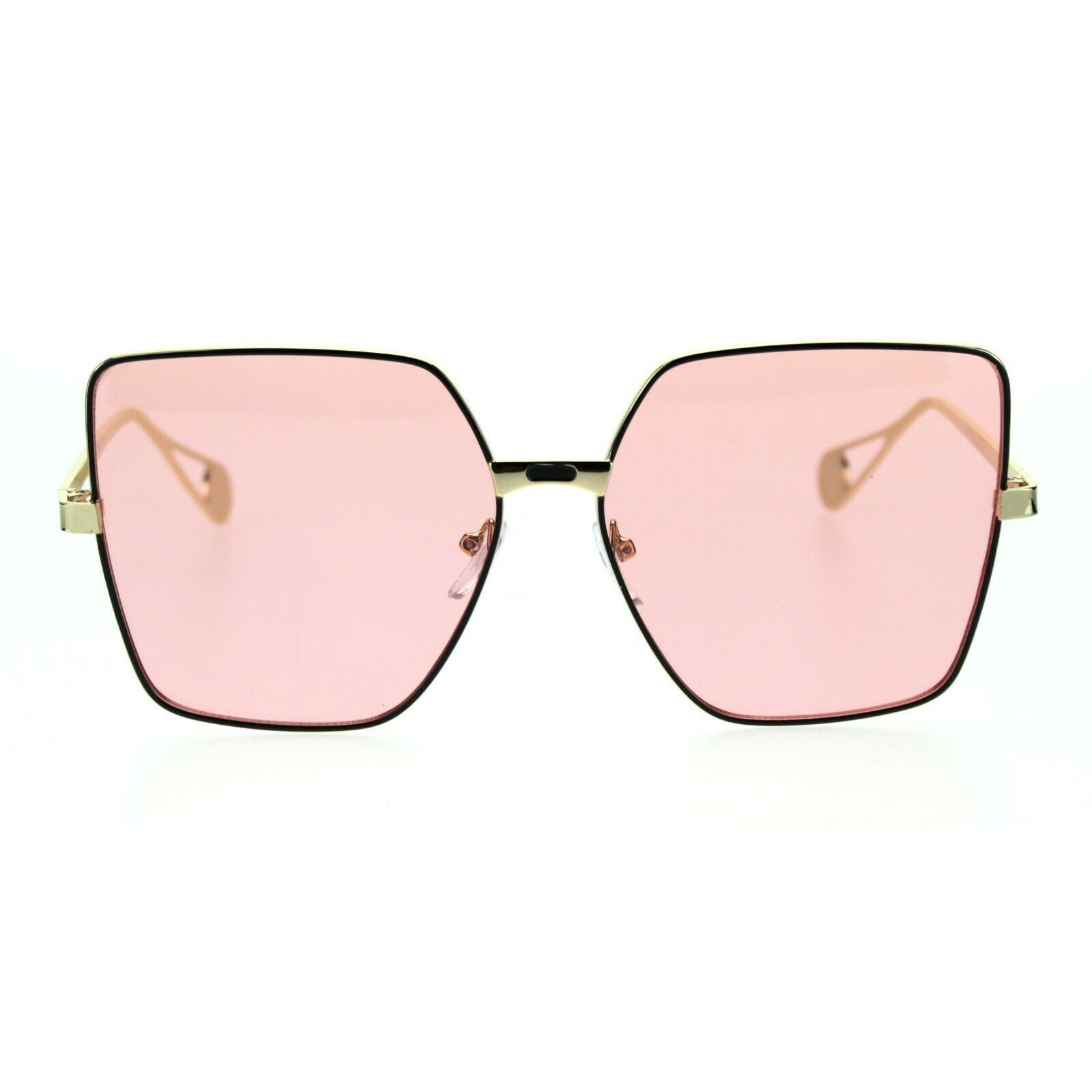 Womens Metal Rim Squared Rectangular Butterfly Sunglasses