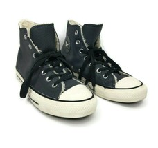 Converse High Top Leather Dark Gray Shearling Lined Sneakers Mens 6 Wome... - $49.49