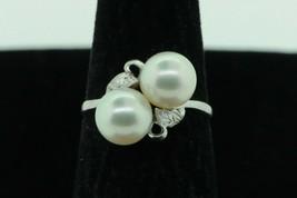 Vintage (ca. 1950) 14K White Gold 7.8mm Japanese Akoya 2 Pearl Ring (Siz... - $385.00