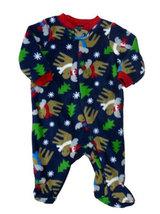 Preemie & Newborn Boys Faded Glory Blue Fleece Moose Holiday Footed Sleeper - $10.00