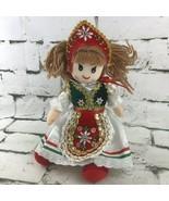 German Oktoberfest Lederhosen Doll Bar Maid Collectible Plush Stuffed  - $19.79