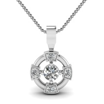 New Fashion Women's Pendant With Chain In 14k White Gold 925 Silver Round Cut CZ - $44.12