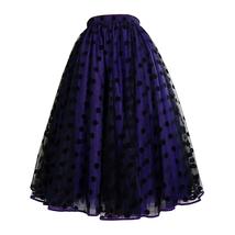 Elegant Purple Polka Dot  Midi Skirt High Waisted Tulle Midi Skirt Plus Size image 1