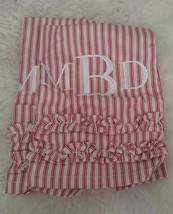 "Pottery Barn Ruffle Guest Towel Set Of 2 Cranberries Mono ""MBD"" New - $24.74"