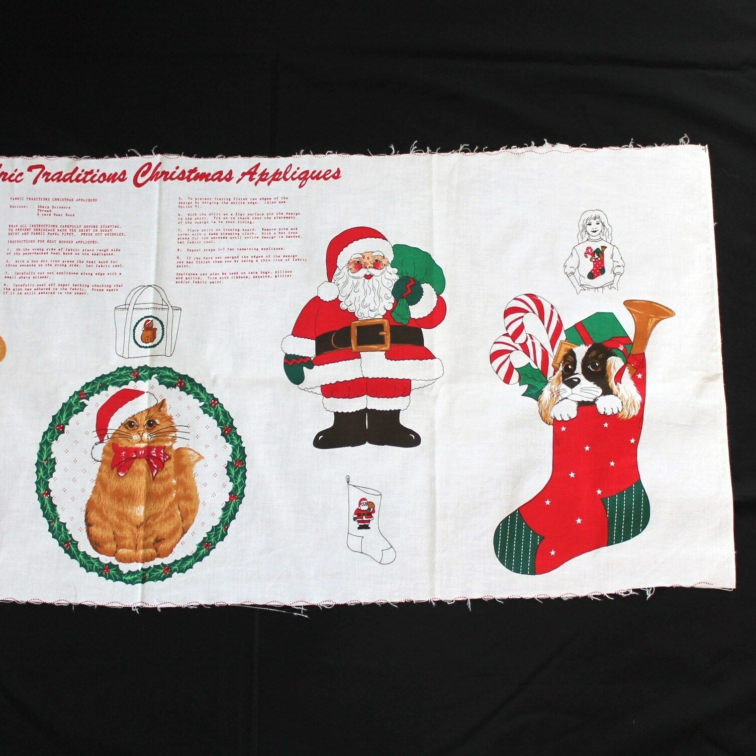 Fabric Traditions Christmas Appliques Fabric Panel Holiday Cat Santa Stocking