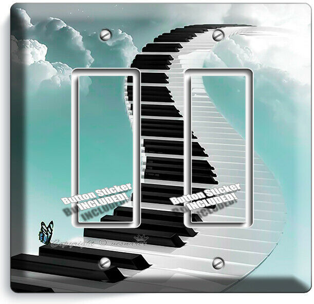 PIANO KEYS STAIRS SKY CLOUDS 2 GFCI LIGHT SWITCH PLATES MUSIC STUDIO ROOM DECOR