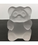 """Imperial Frosted Glass Sitting Bear Paperweight Handcrafted by Lenox 4"""" - $17.55"""