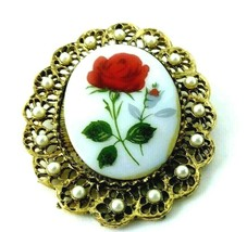 Vintage Gold Tone Sirocco Faux Pearl Rose Cabochon Brooch Pin Pendant Je... - $15.99