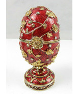 Gorgeous Red Enamel Egg Shaped Music Box with gold roses n glass diamonds - $48.22