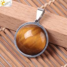 CSJA Reiki Natural Round Necklace Pendants Gem Stone Stainless Steel Tig... - $10.08