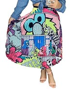 ThusFar Women's Graffiti Pleated Skirts Cartoon Printed Elastic Waist A-... - $31.75