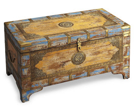 Anthropologie Style Moroccan Coffee Table Trunk Painted Distressed Wood ... - $515.79