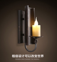 Vintage Style Metal Plate Wall Sconce Loft Glass Candle Lampholder Wallm... - $111.74
