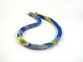 Beads crochet rope necklace patchwork pattern ,beaded seed beads necklace - $40.00