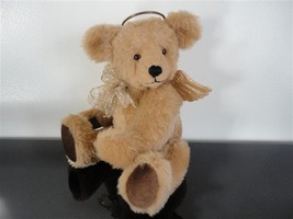 One of a Kind Beige ANGEL BEAR with Gorgeous Wings Metal Halo Jointed AOOAK - $85.82