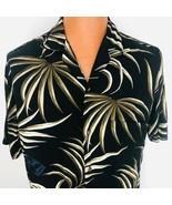 Winnie Fashion L Hawaiian Aloha Black Beige Palm Leaves North Shore Maui... - $39.59