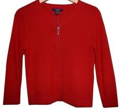 Chaps by Ralph Lauren Womens Classic Red Full Zip Zipper Crew Cardigan S... - $59.98