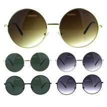Womens Oversize Circle Round Lens Hippie Groovy Metal Rim Sunglasses - $12.95