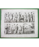 GREECE Greek Life Gymnastics Wedding Women Funeral  - Antique Print - $12.15