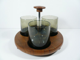 MCM Siamese Staved Teakwood Smoke Glass Serving Condiment Tray Holder Ho... - $21.00