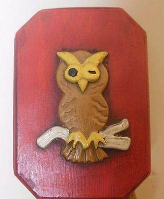 Hand Made Owl Plack Plaster Hand Painted  6.5 x 5""