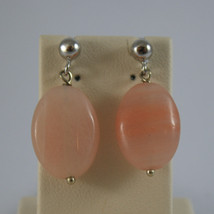 SOLID 18K WHITE GOLD EARRINGS, WITH ROSE JADE OVAL, LENGTH 0,98 IN MADE IN ITALY image 1