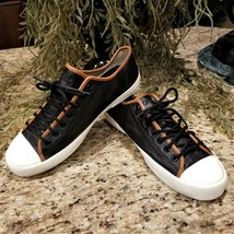 RARE Find Mens Polo Ralph Lauren Francisco Low Ox Black Leather Sneakers US Sz 9 - $99.95