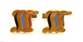 Vintage 1950s 60s SIGNED Looping Design 10K Gold Filled & Enamel CUFFLINKS - $45.58