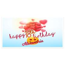 Loving Hearts Emoji Birthday Banner Personalized Custom Party Backdrop D... - $22.28+