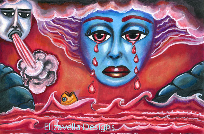 Sky Goddess crying bloody tears ORIGINAL ART PAINTING Revelation 16:3 bible art
