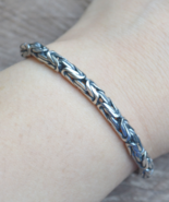 Sterling silver bracelet, thick chain bracelet, braided bracelet, silver... - $144.99