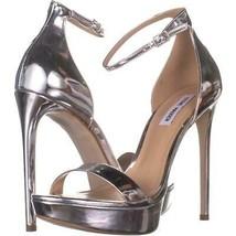 Steve Madden Starlet Ankle Strap Heeled Sandals 928, Silver Metallic, 10 US - $36.47