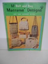 """Vintage 1971~""""12 Belt & Bag Macrame Designs"""" #H-194 Instruction Booklet - $7.95"""