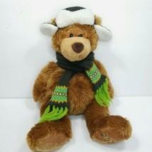 "Mary Meyer Brown Bear Green Hat Scarf Stuffed Plush Animal Christmas 16""... - $18.80"