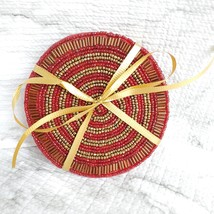 Beaded Coasters, Red & Gold, set of 4, fabric bead mats, holiday coasters image 2