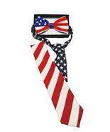 Great USA American Flag BOW-TIE and NECKTIE SET Costume Accessory Red Wh... - $8.49