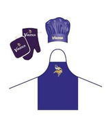 NFL Minnesota Vikings Barbeque Apron, Chef's Hat and Pot Holder Deluxe Set - $30.99