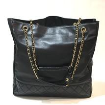 AUTHENTIC CHANEL Tote Bag Matelasse Shoulder Bag Black/GoldHW Lambskin L... - $635.00