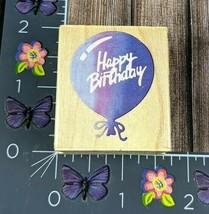 All Night Media Happy Birthday Balloon Rubber Stamp Wood Mount #N22 - $6.92
