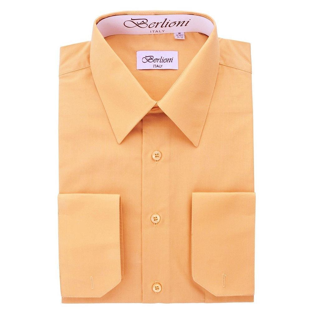 BERLIONI ITALY MEN'S PREMIUM FRENCH CONVERTIBLE CUFF SOLID DRESS SHIRT PEACH