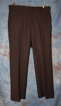 Mens Dark Brown Flat Front Dress Pants Slacks Size 35 x 30 excellent - $8.90