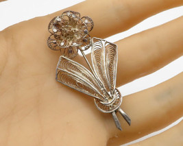 925 Sterling Silver - Vintage Lace Floral Rose Brooch Pin - BP1536 - $26.03