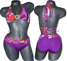 NWT TRINA TURK 0 2 XS halter bikini swimsuit ruched orange pink purple 2pc - $55.28