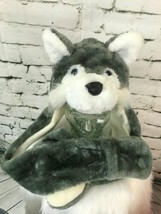Girls One Sz Hat Wolf Themed Trapper Extra Long With Mittens Winter Cap - $19.79
