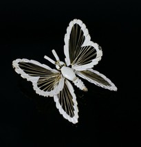 Vintage Gold Tone MONET Openwork Butterfly Signed Costume Jewelry Brooch... - $14.34