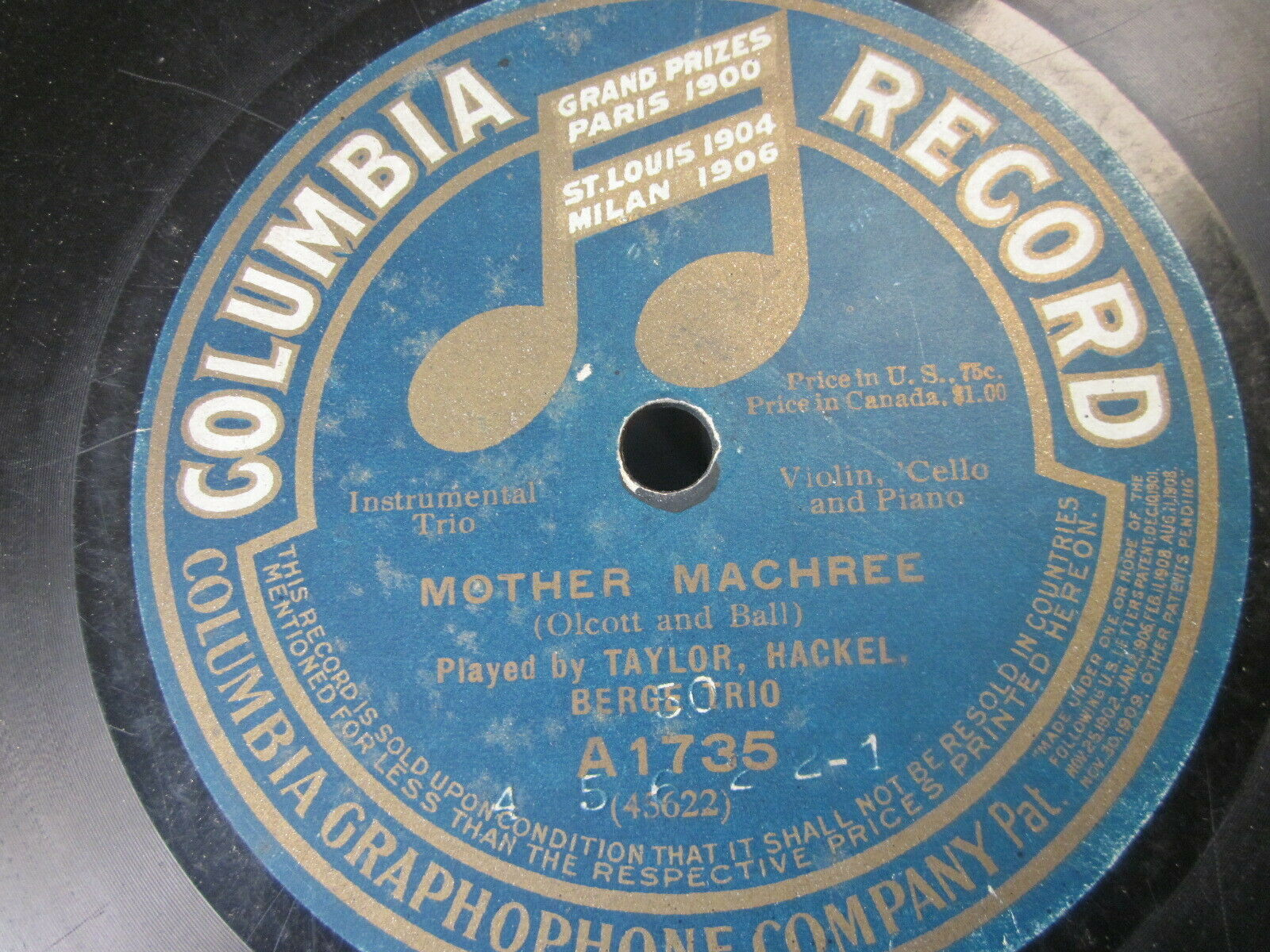 "Primary image for 10"" 78 rpm RECORD COLUMBIA A1735 TAYLOR HACKEL BERGE TRIO BECAUSE/MOTHER MACHREE"