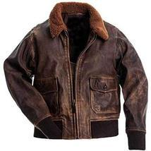 G1 Fur Collar Aviator Pilot Air Force Distressed Brown Genuine Leather Jacket image 1